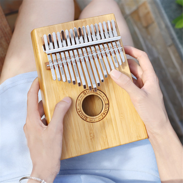 best selling New 17 Keys wood color Kalimba Wood Mahogany Body Thumb Piano Musical Instrument accessories