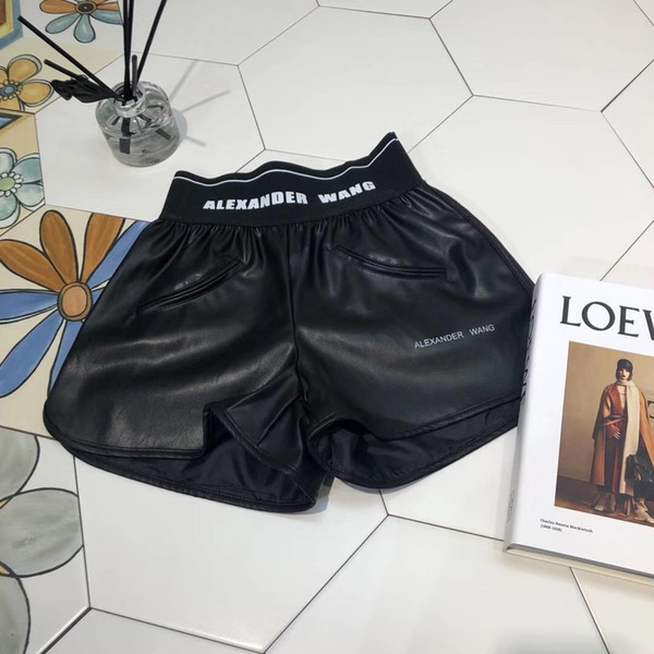 High End Women Vintage leather Shorts Letter Print Mini Shorts Pants Girls Casual Female Active Shorts Trouser