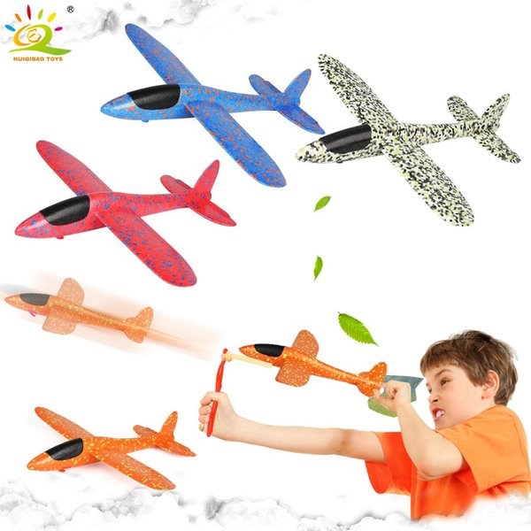 38*37CM Hand Launch Throw Foam Airplane With Slingshot Flying Glider Plane Model Outdoor Educational Toys For Children