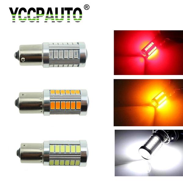 Lámpara de señal barata YCCPAUTO 1156 p21w led Señales de giro del coche Luz Blanco Rojo Amarillo BA15S LED Super brillante Freno automático Luces de marcha atrás