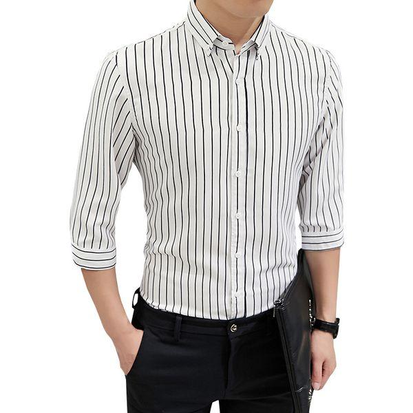 Compre 2019 Verano Para Hombre Camisa De Vestir Casual A Rayas De Silm Camisa Joven De Oficina Ropa De Marca Tres Cuartos De Manga Chemise Homme A