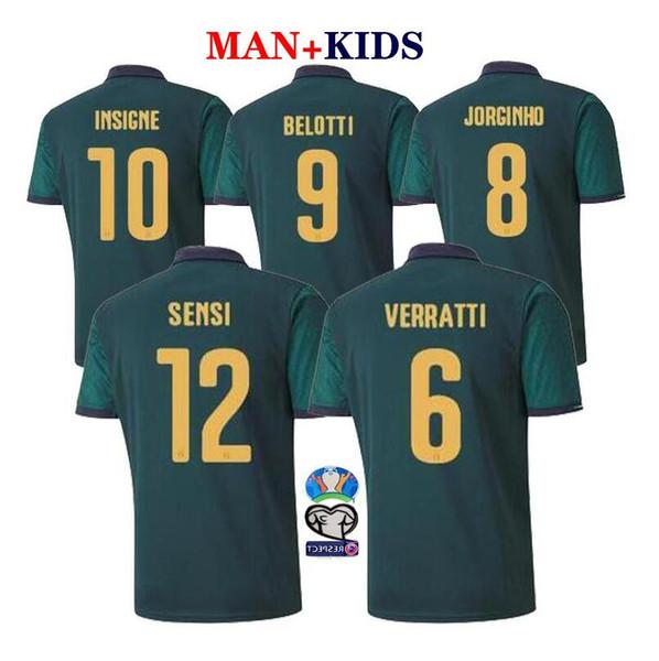 19 20 New S-3XL Coppa Europa ITALIA maglie calcio CHIELLINI maglia El Shaarawy BONUCCI Seconda maglia UOMO BAMBINI Football Shirt