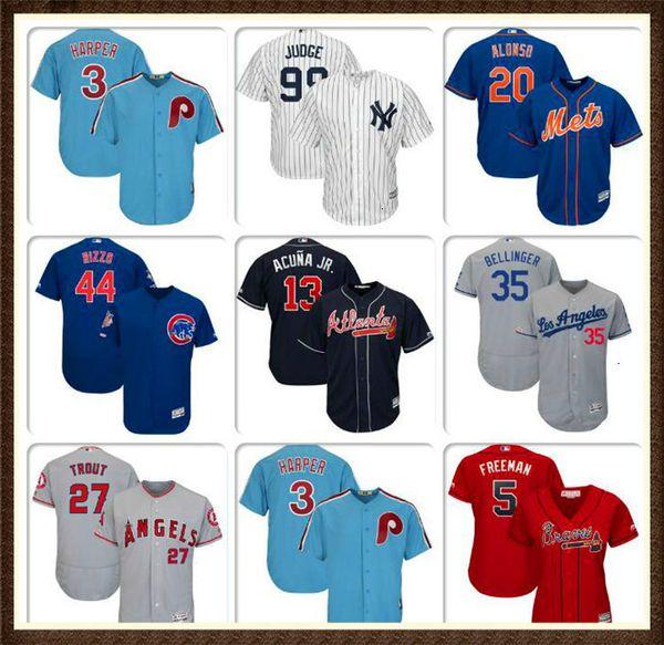 Mens-Baseball-Shirt Bryce Harper Javier Baez Pete Alonso Cody Bellinger Mike Trout Freddie Freeman Authentic Startseite Trikots Nolan Ryan FRAUEN