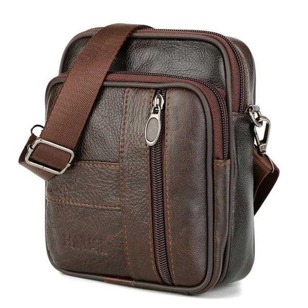 Genuine Leather Mult Function Men Shoulder Bags & Waist Packs Brown Small Crossbady Man Vintage Messenger Bag