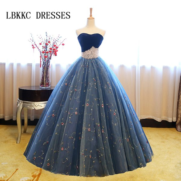 Top De Veludo Azul Quinceanera Vestidos Querida Frisado Doce 16 Vestidos De Baile Vestidos De Vestidos De 15