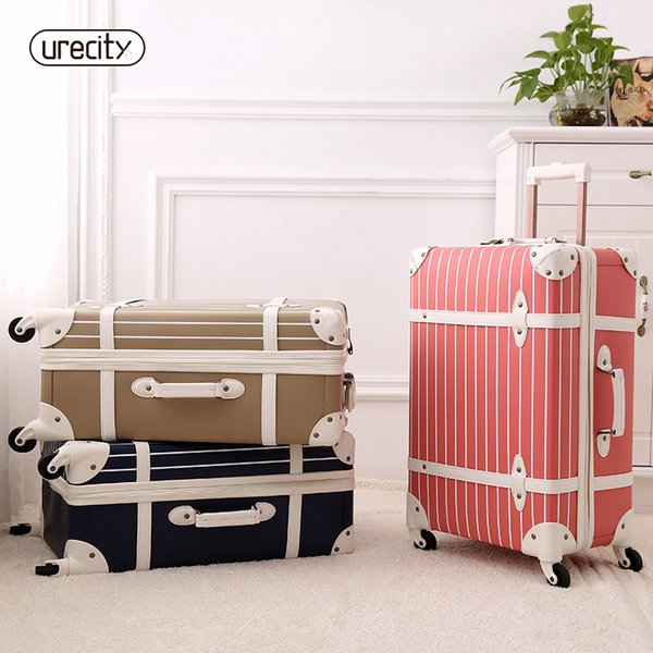 Fashion luggage inches girl trolley case PP students lovely Travel striped luggage rolling suitcase extension Boarding