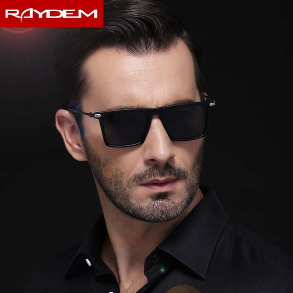 2018 Raydem New Men Polarized Sonnenbrille Square Mattschwarz PC Rahmen Oculos De Sol Feminina Driver Sunglass Fashion Eyeglasses