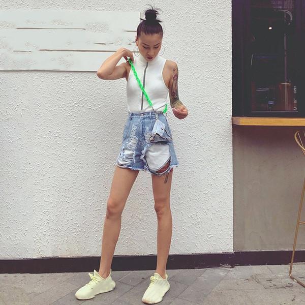 2019 Women Ripped Hole Denim Short Pants High Waist With Sashes Shorts Summer Fashion Korean Jeans