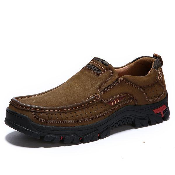 Hakiki Deri Ayakkabı Erkekler Inek Deri Rahat Ayakkabılar Erkek Açık Yüksek Kalite Erkekler Flats Slip-on Man Ayakkabı Boyutu 38-48