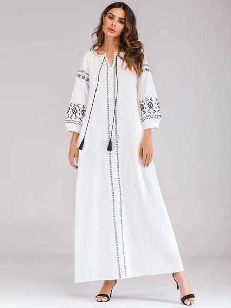 Femmes Coton Lin À Manches Longues Maxi Dress Dames Lâche Bohême Robe Blanche Élégant Floral Broderie Maxi Robes Robe Islamique
