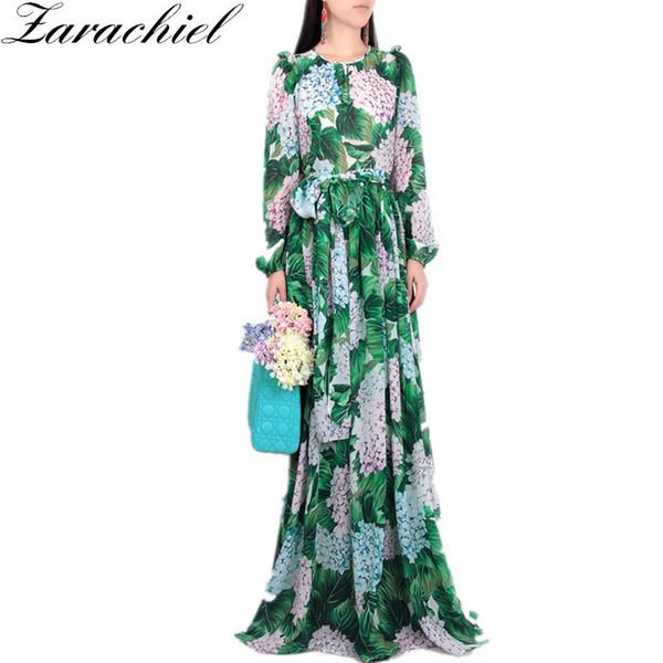 Nuevo 2019 Runway Hydrangea Floral Vestido de otoño Mujeres Hojas verdes Estampado de flores Botones de diamantes Hasta el tobillo Plisado Vestidos de gasa Y19051102
