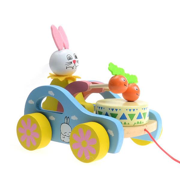Игрушки Для Детей Noise Maker Деревянные Классические Игрушки Brinquedos Милый Зайчик Барабан Барабан На Автомобиле Дети Развивающие Игрушки Для Ребенка 6+ Месяцев Y19062803