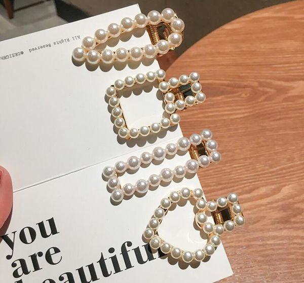6Pcs Wedding Woman Elegant Geometric Pearl Hairpins Korean Style Hair Clips Alloy Barrettes Girls Hair Accessories Hair Grips Headwear