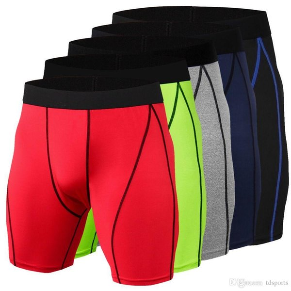 2019 Bathing trunks Men's Running Shorts Brand Sportswear Male Compression Tight Shorts Gym Running Knickers Wicking leggings Free ship