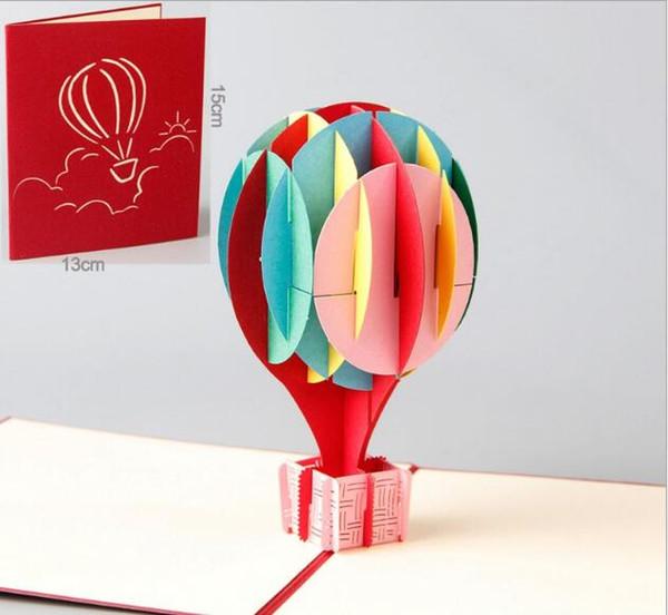 Compre 3d Globo Colorido Globo De Aire Caliente Tarjeta De Cumpleaños Papel Creativo Tallado En Papel Para Niños Regalo Estéreo Tarjeta De