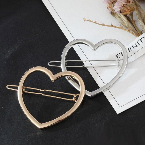 Горячая распродажа винтаж золото серебро в форме сердца заколки для волос женские заколки для девочек модные аксессуары для волос