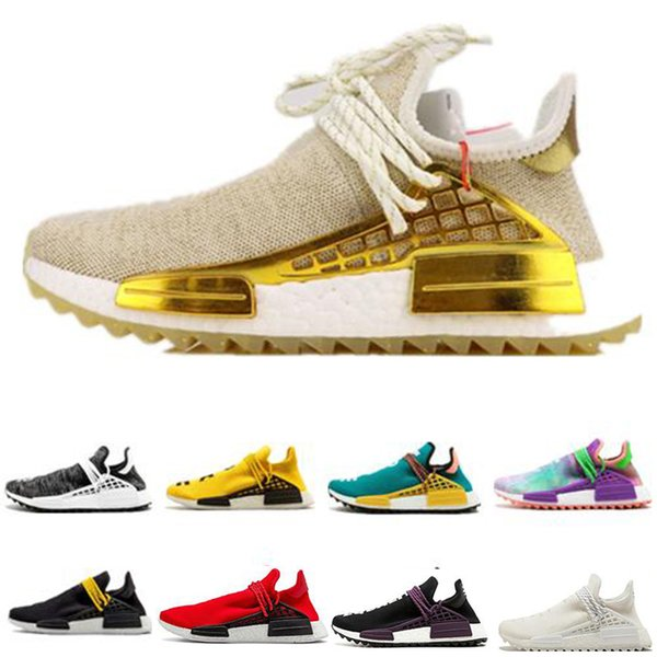 2019 Hommes Course Humaine Hu Trail Pharrell Williams Nmd Chaussures De Course Crème Blanc Holi Femmes mode luxe hommes femmes designer sandales chaussures