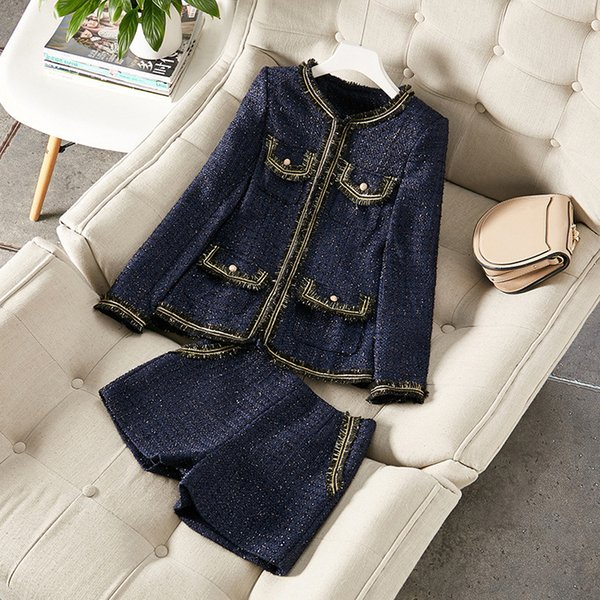Autumn 2019 new European and American women's wear Long sleeve delicate button coat shorts Tweed fashion suit