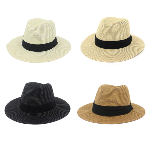 Womens Unisex Summer Large Brim Beach Straw Sun Hat Braided Weave Wide Pleated Bandage Decor Solid Color Party Classic Jazz Cap