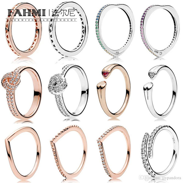 FAHMI 100% 925 Sterling Silver Genuine Original Colorful Rainbow Heart Ring Hope Shining Rose Gold Heart Adjacent