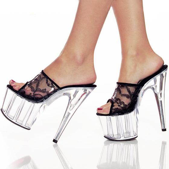 Schuhe frau neue 2018 sommer elegante high heels 15 cm feine transparente glas slipper frauen schuhe stahlrohr tanzen sandalen