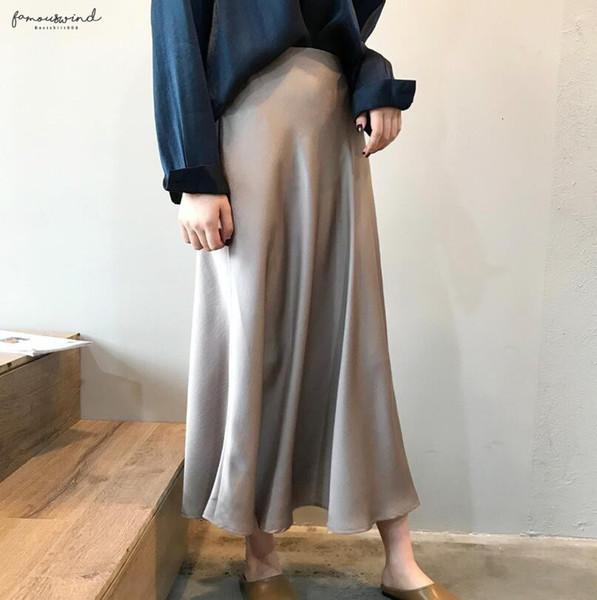 Primavera 2019 di colore metallizzato Midi Donne vita alta raso Gonna lunga Gonna lucido imitazione di seta Skirt