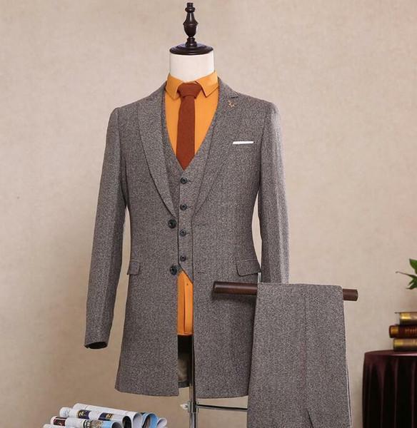 Cinza Herringbone Tweed Terno Vintage dos homens 3 Peças 2 Lã Botão Em Estoque 2018