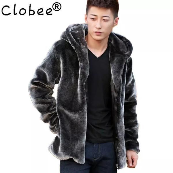 Moda Uomo Faux Fur Coats Faux Mink Coat Uomo Con Cappuccio di Lusso Inverno In Pelle Scamosciata Giacca Uomo Biker Pelts Giacche Maschili Blu