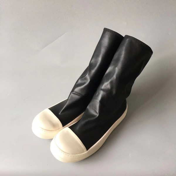 Male and female models with long-barreled boots fashion sheep cowhide leather shoe bottom TPU milk high quality genuine leather knee boot