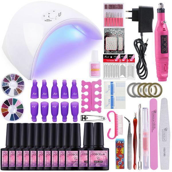 Nail Art Set 36W UV Led lampe SECHE 10/06/12 Gel couleur Vernis à ongles Set Outils de manucure vernis gel Kit