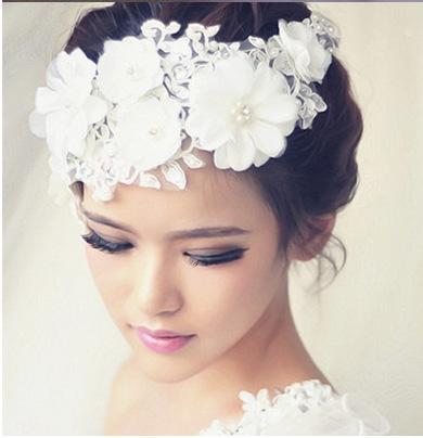 Accesorios nupciales para el cabello de novia Flores de encaje de seda Diadema de perlas de imitación para mujer niña para la novia dama de honor