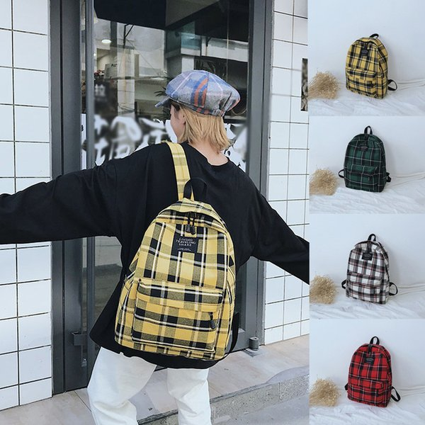 35#Women New Durable Bag Female Student College Wind Bag Plaid Canvas Fresh And Elegant Backpack Travel Casual Style