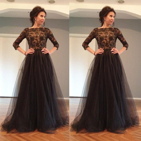 Elegant Black Lace Evening Dress 3/4 Sleeves Prom Dresses Backless A-line Tulle Fashion Party Wear Color Illusion Multi Layers Maxi Gowns