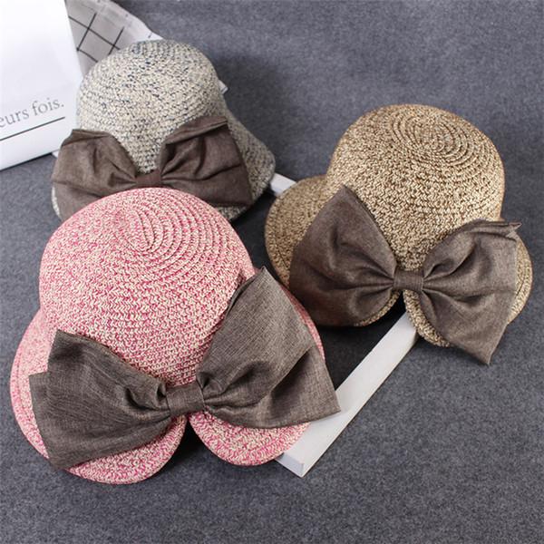 Meninos e meninas chapéu de palha pai-filho chapéus de sol chapéu de palha praia de palha crianças legal protetor solar Moda chapéu de festa T3H5010