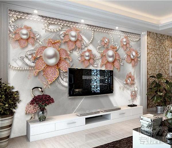 Custom Wallpaper 3D Stereoscopic Elegant and beautiful jewelry flower TV background wall Art Wall Mural Living Room Bedroom Wallpaper