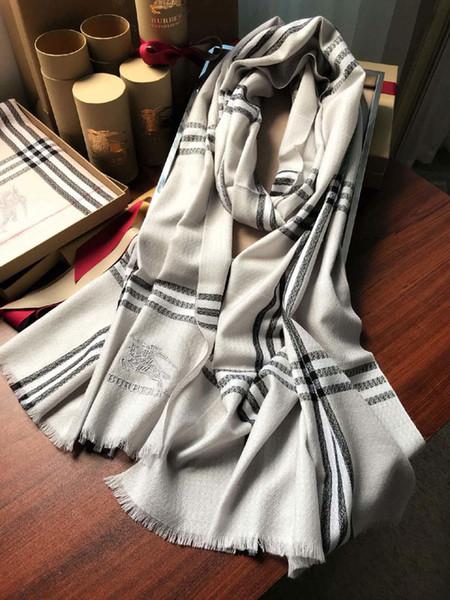 Primavera 100% Lana Bufanda larga Chal para mujeres y hombres Mejor calidad Marca clásica Bufandas calientes Bufandas Bufanda de lana 180x48cm B3502