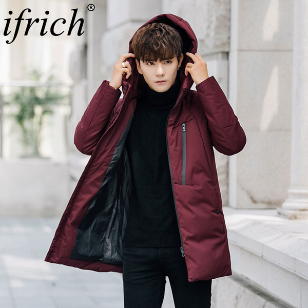 Mens Slim Fit Long Down Jacket Coat | 2019 Brand New Male Casual Winter Down Parka Men Thick Hip Hop Parka Overcoat Red Black