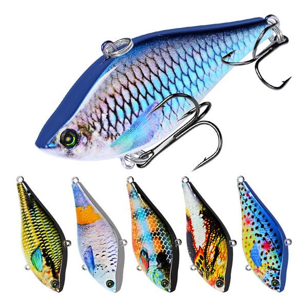 6 colores 6.35cm 14g VIB Plástico Cebos duros Señuelos Anzuelos de pesca Anzuelos 6 # Gancho Cebo artificial Pesca Aparejos de pesca Accesorios
