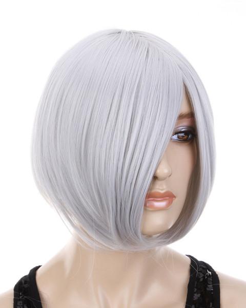 Anime Short Sliver Gray Straight Women Men Full Wig USPS free Shipping 150325