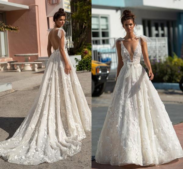 a5ac33284d Berta 2019 verão boho sexy backless vestidos de noiva a linha de decote em  v profundo