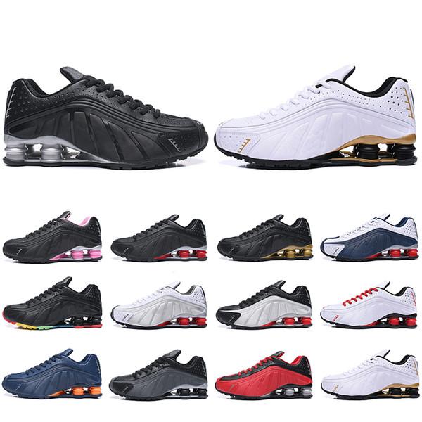 Moins cher Nouveau Shox R4 Chaussures De Course Pour Hommes Femmes Zapatillas Hombre Cuir respirant Hommes Baskets Designer Athlétique Baskets