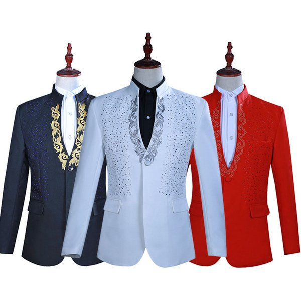 3 Colors Long Sleeve Two-Piece Men's Suits 18th Century Stand Collar Nightclub Singer Performance Jacket Costumes For 2018