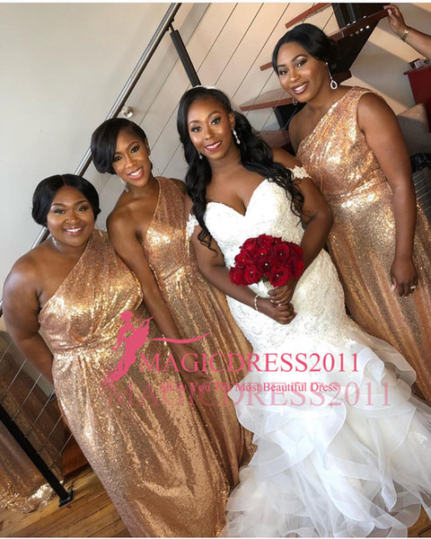 2020 New Plus Sizes African A Line Gold Bridesmaid Dresses One Shoulder Sequins Ruffle Sparkle Maid Of Honor Gowns Wedding Guest Dresses