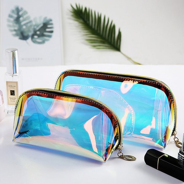 Litthing New Laser Makeup Pouch Waterproof TPU Material Cosmetic Bag For Female Transparant Makeup Case Female Jelly Bag