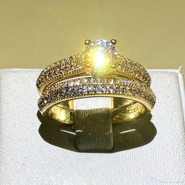 Hotyou Edlen Schmuck Solitaire Hochzeit Ring für Frauen Lieben Für Immer 925 Silber gelb Gold Farbe CZ anillos mujer Stapeln Ringe Set größe 4-12