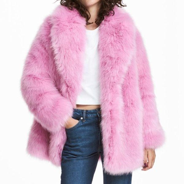 Длинная Поддельного Fox Шуба Женщины моды Крытых кнопок Fur Женщины Повседневные Карманы Розовая Искусственные куртки Женская дама