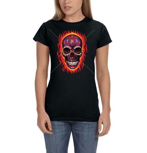 Crâne De Sucre Peint Flammes Squelette Jour De La Mort Dames T-shirt Pour Femmes Taille De Tee Discout Chaud Nouveau Tshirt Cattt Coupe-Vent Carlin Tshirt