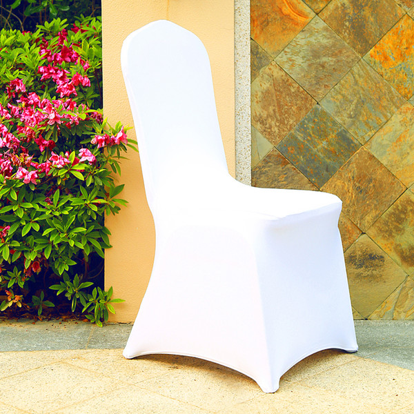 100Pcs Popular Cheap Wedding Celebration Ceremony Chair Covers White Elastic Party Chair Cover Banquet Dining Cloth NEW