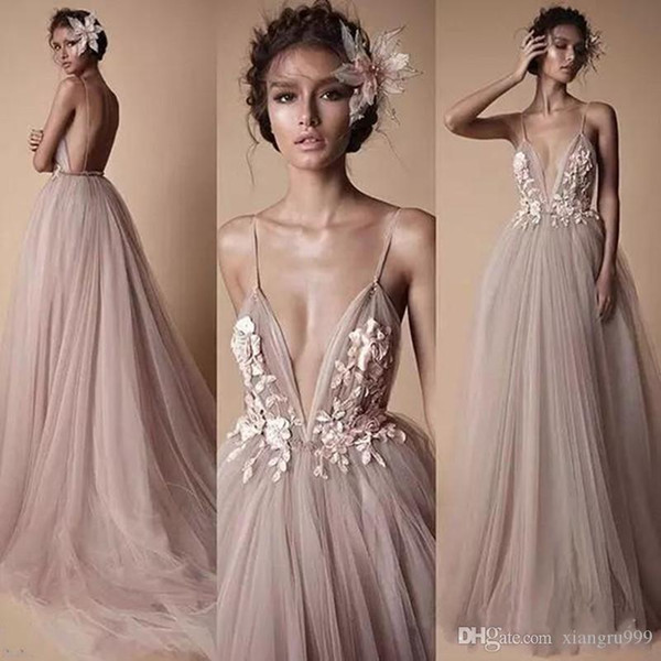 2018 Berta Evening Dresses Sheer Tulle Sexy Spaghetti Sweep Train Backless Prom Party Gowns Floral Applique Prom Dress