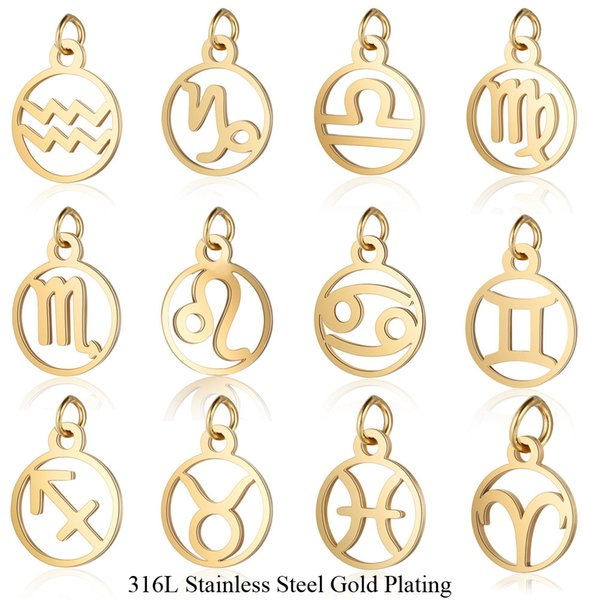 wholesale 12pcs/lot 11*16mm Stainless Steel 12 Signs Zodiac Metal Charms for Women Jewelry Gold Color Zodiac Mini Charms Pendant